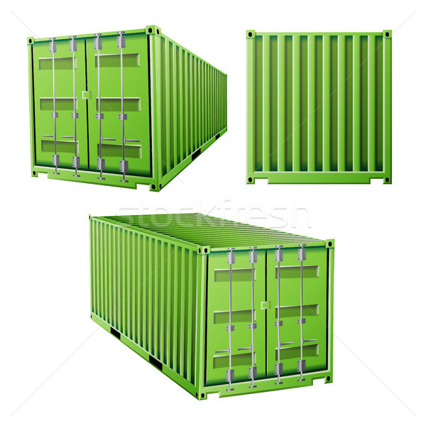 Green Cargo Container 3D Vector. Freight Shipping Container Concept. Logistics, Transportation Mock  Stock photo © pikepicture