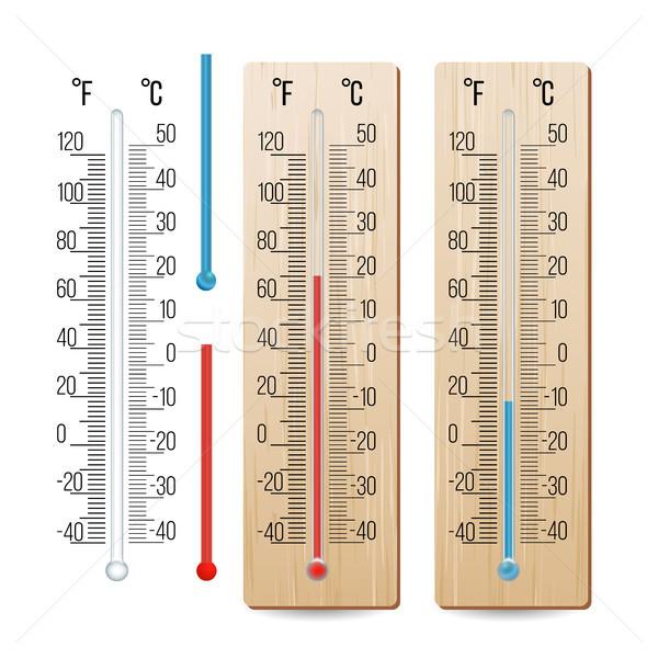 Realista termómetro vector azul diferente aislado Foto stock © pikepicture