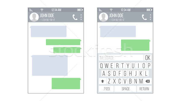 Mobile UI Kit Messenger Vector. Chat App Design Template. Modern Mobile Keyboard Isolated Illustrati Stock photo © pikepicture