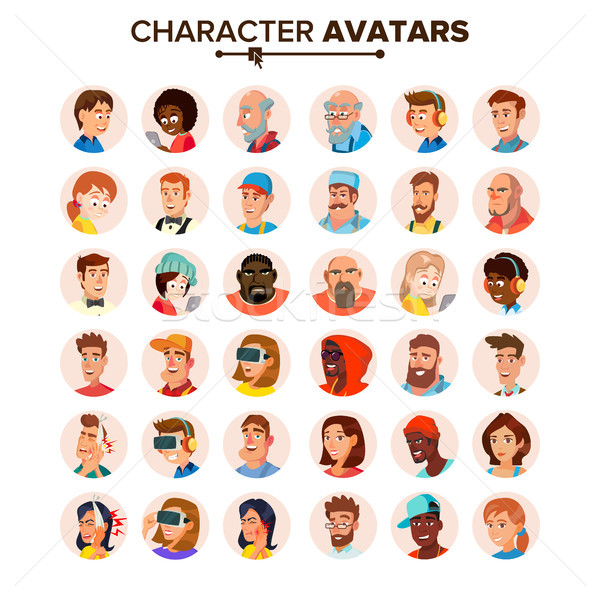 People Avatars Collection Vector. Default Characters Avatar. Cartoon Flat Isolated Illustration Stock photo © pikepicture