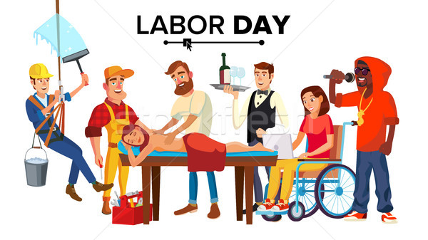 Labor Day Vector. People Occupation Difference. Modern Jobs. Isolated Cartoon Illustration Stock photo © pikepicture