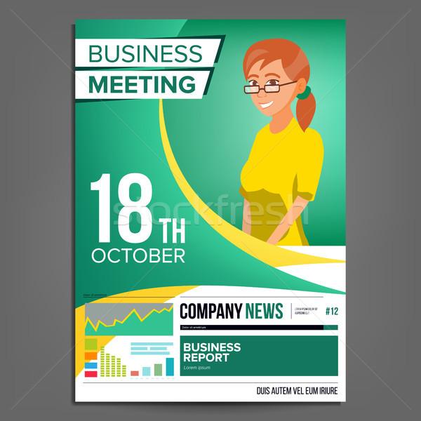 деловое совещание плакат вектора деловой женщины приглашения конференции Сток-фото © pikepicture