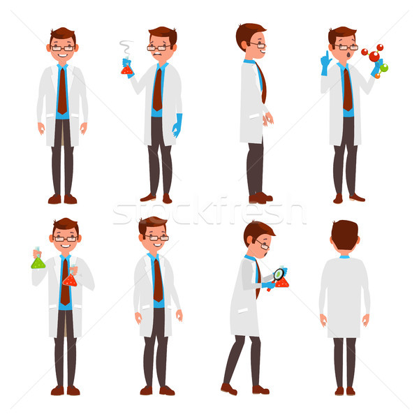 Professional Scientist Vector. Modern Young Worker. Male At Work In Laboratory. Isolated On White Ca Stock photo © pikepicture