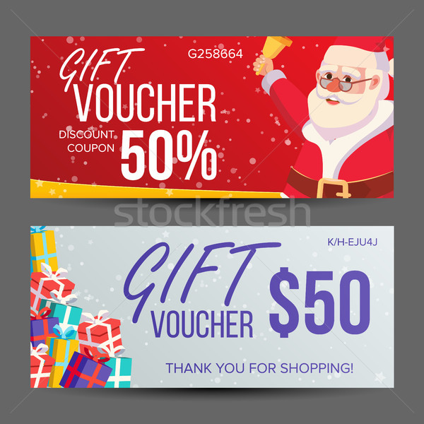 Christmas Voucher Vector. Horizontal Banner. Merry Christmas. Santa Claus And Gifts. End Of The Year Stock photo © pikepicture