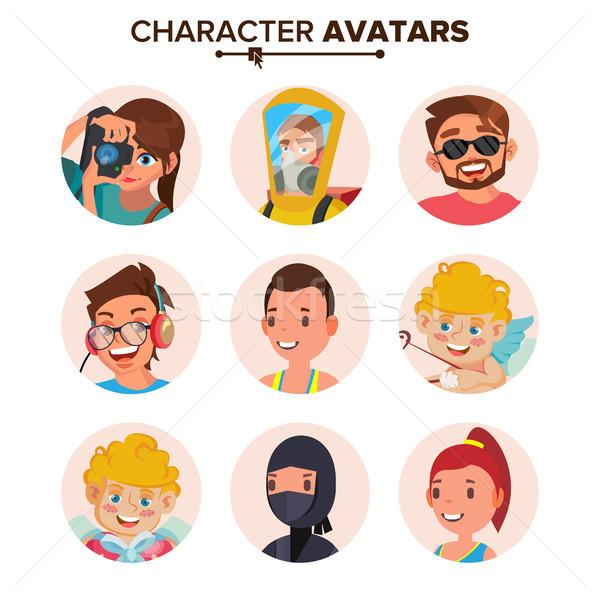 Carácter personas avatar establecer vector cara Foto stock © pikepicture