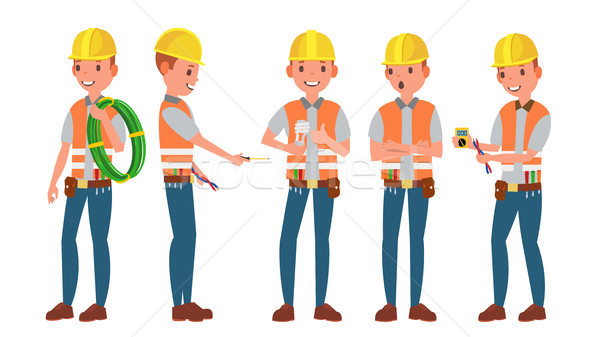 Professional Electrician Vector. Different Poses. Performing Electrical Work. Isolated On White Cart Stock photo © pikepicture