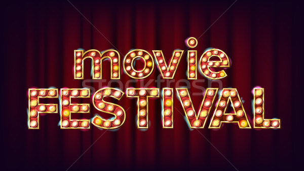 Movie Festival Sign Vector. Vintage Cinema 3D Glowing Element. For Theater, Cinematography Design. M Stock photo © pikepicture