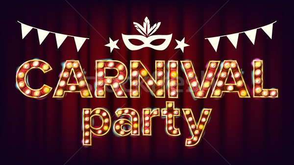Carnival Party Poster Vector. Carnival 3D Glowing Element. For Masquerade Invitation Design. Vintage Stock photo © pikepicture