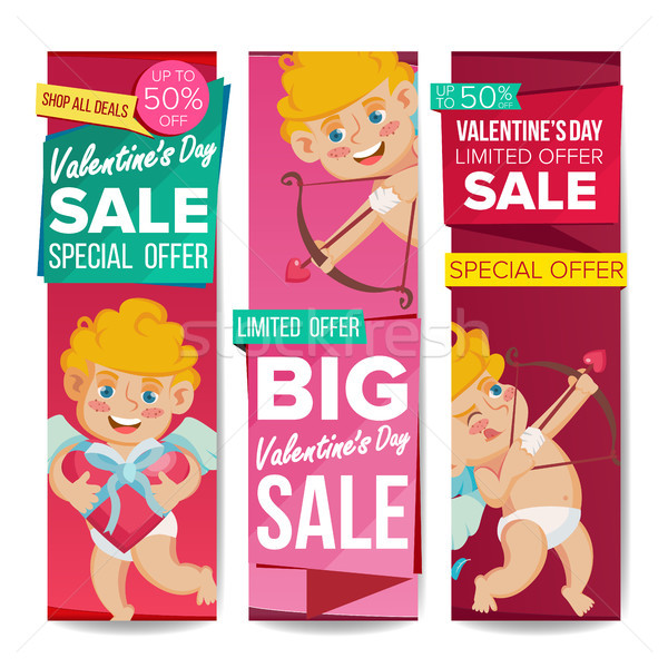 Valentine s Day Sale Banner Vector. February 14 Cupid. December Sale Banner. Website Stickers, Valen Stock photo © pikepicture