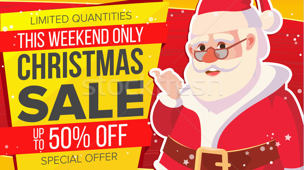 Big Christmas Sale Banner With Happy Santa Claus. Vector. Holidays Sale Announcement. Business Adver Stock photo © pikepicture
