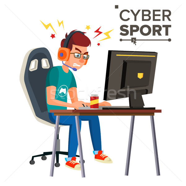 Cyber Sport Player Vector. Professional Gaming Stream Banner. Strategy Video Game. Competition. Cybe Stock photo © pikepicture