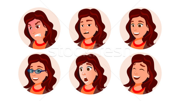 Business Avatar Woman Vector. Human Emotions. Stylish Image. Flat Character Illustration Stock photo © pikepicture