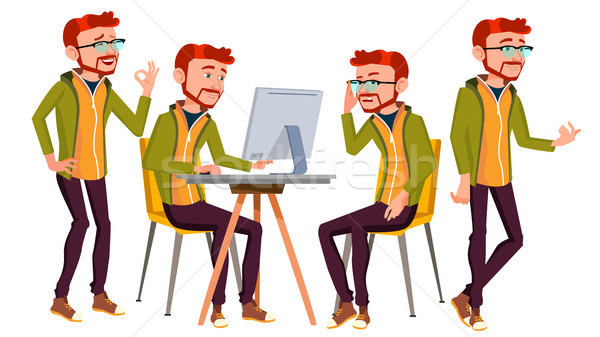 Office Worker Vector. Businessman Worker. Lifestyle. Animated Elements. Poses. Red Head, Ginger. Fro Stock photo © pikepicture