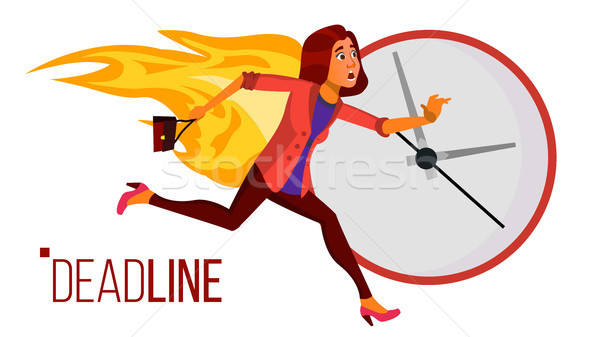 Deadline Concept Vector. Stressed Office People. Running Business Woman On Fire. Time Management. St Stock photo © pikepicture