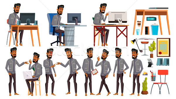 Arab Man Office Worker Vector. Business Set. Face Emotions, Various Gestures. Animated Elements. Sce Stock photo © pikepicture