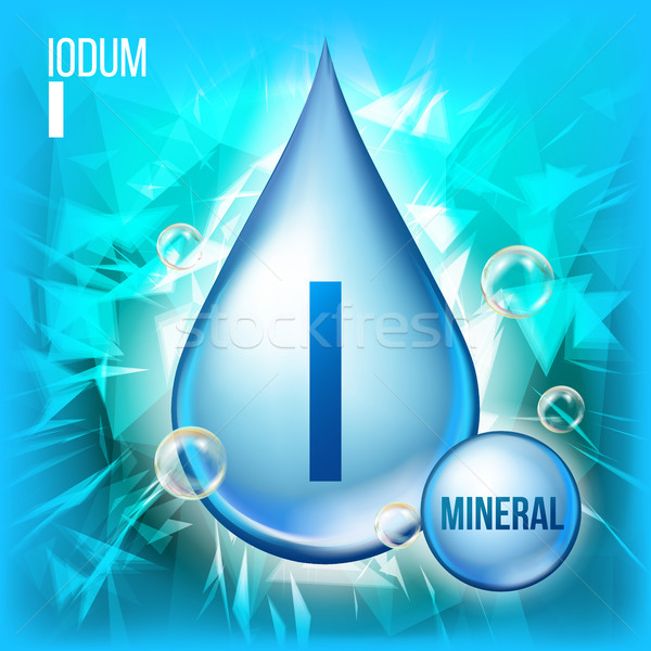 I Iodum Vector. Mineral Blue Drop Icon. Vitamin Capsule Liquid Icon. Substance For Beauty, Cosmetic, Stock photo © pikepicture