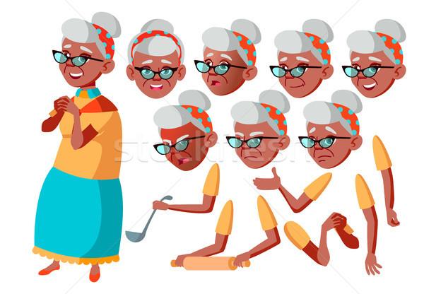 Yaşlı kadın vektör siyah afro amerikan kıdemli Stok fotoğraf © pikepicture