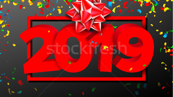 2019 3D Sign Vector. Sign Numbers 2019. Modern Brochure. Red. New Year Background Illustration Stock photo © pikepicture