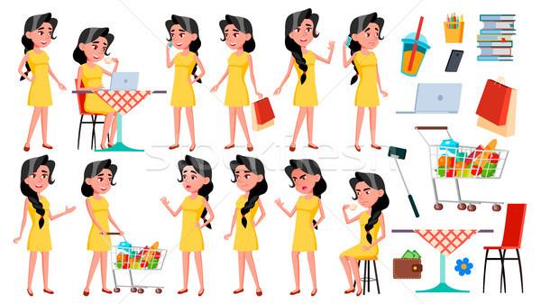 十幾歲的女孩 集 向量 提出 廣告 商業照片 © pikepicture