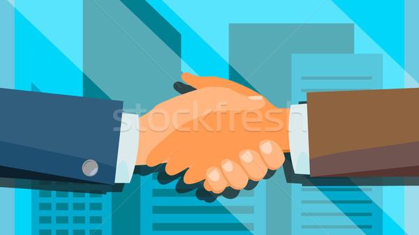 Handshake Concept Vector. Happy Partnership. Success Deal. Financial Technology. Flat Illustration Stock photo © pikepicture