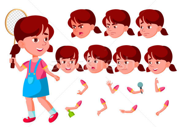 Girl, Child, Kid, Teen Vector. Happy Childhood. Abc. Face Emotions, Various Gestures. Animation Crea Stock photo © pikepicture