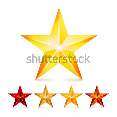 Three Achievement Vector Stars. Yellow Sign. Golden Decoration Symbol. 3d Shine Icon Isolated On Whi Stock photo © pikepicture