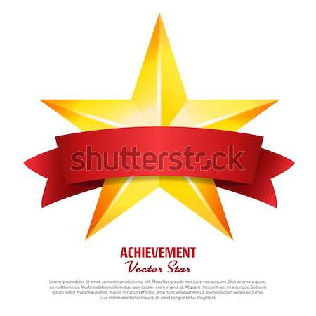 Three Achievement Vector Stars. Realistic Sign. Golden Decoration Symbol. 3d Shine Icon Isolated On  Stock photo © pikepicture