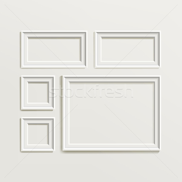 Blank Picture Frame Template Composition Set Vector. White Photo Frames. Realistic Picture Frame. Mo Stock photo © pikepicture