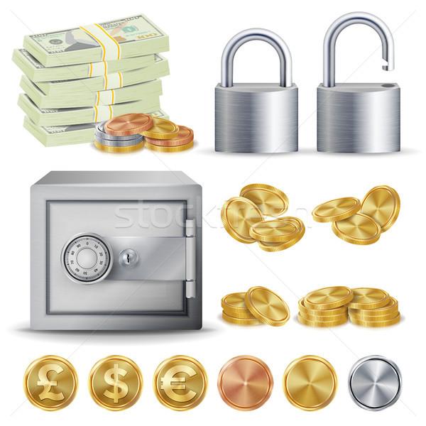 Finance sécurisé vecteur or argent cuivre Photo stock © pikepicture