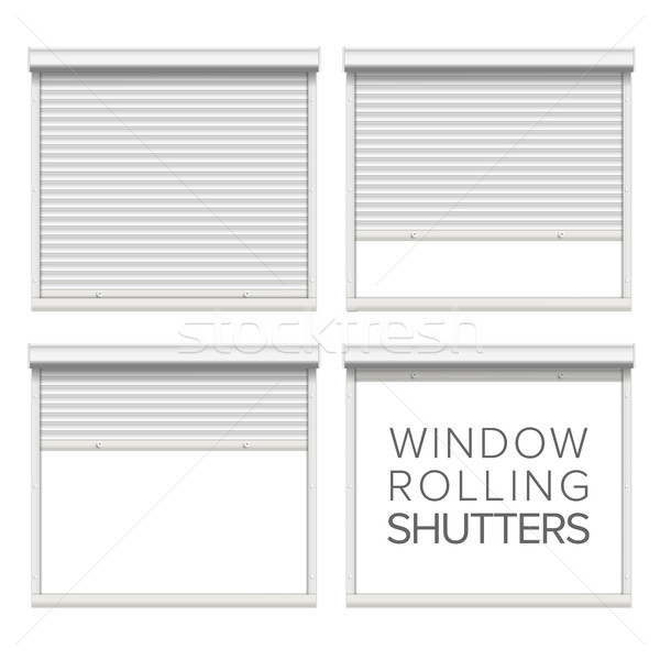 Window Roller Shutters Vector. Opened And Closed. Realistic Window, Door, Garage Rolling Shutters Is Stock photo © pikepicture