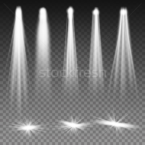 White Beam Lights Spotlights Vector. Scene Illumination. Transparent Effects On A Plaid Dark Backgro Stock photo © pikepicture