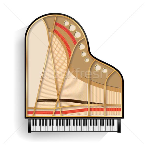Grand Piano Opened Vector. Realistic Black Grand Piano Top View. Isolated Illustration. Musical Inst Stock photo © pikepicture