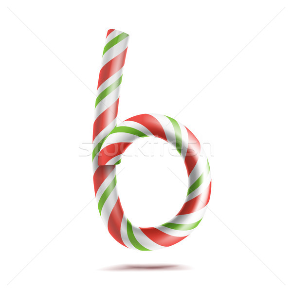 Letter B Vector. 3D Realistic Candy Cane Alphabet Symbol In Christmas Colours. New Year Letter Textu Stock photo © pikepicture