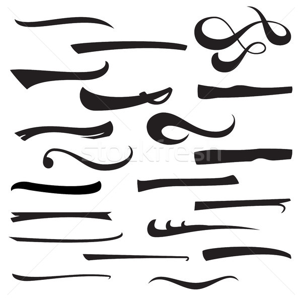 Set Of Hand Lettering Underlines Lines Isolated On White. Typographic Design. Vintage Elements For H Stock photo © pikepicture