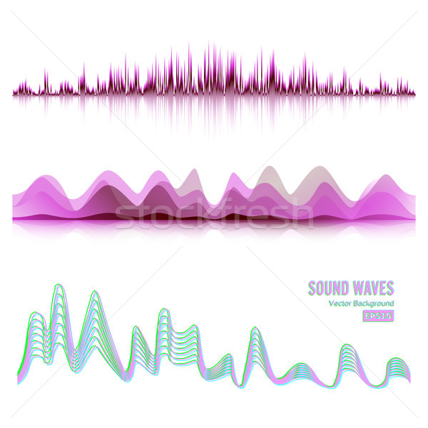 Music Sound Waves Pulse Abstract Vector. Digital Frequency Track Equalizer Illustration Stock photo © pikepicture