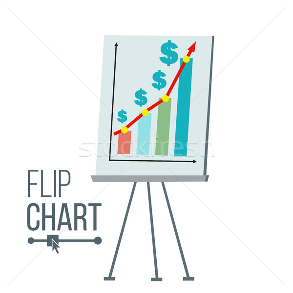Flip Chart Vector. Flat Cartoon Isolated Illustration. Business Info Graphic Presentation. Pie Graph Stock photo © pikepicture
