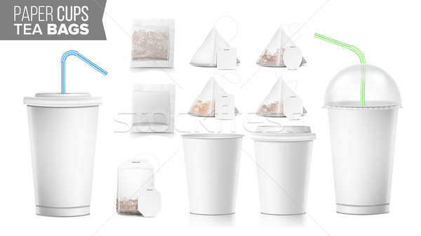 Disposable Paper Cups And Tea Bags Set Vector. Plastic Covers. Take-out Soft Drinks Cup Template. Op Stock photo © pikepicture