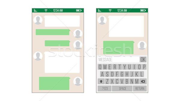 Chat, Sms Application Vector Template. Message Boxes. Modern Mobile Keyboard Isolated Illustration Stock photo © pikepicture
