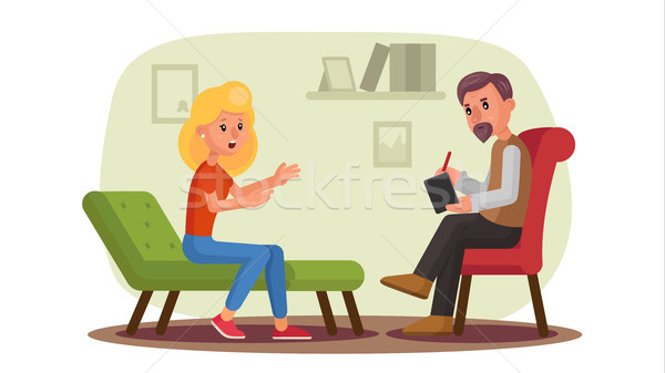 Classic Psychologist Vector. Classic Psychotherapist And Woman Patient. Psychotherapy Counseling Con Stock photo © pikepicture