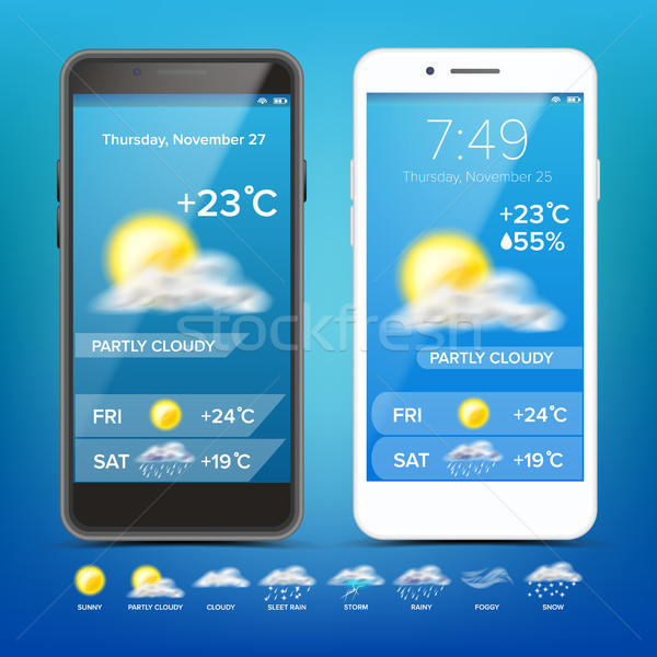 Weather Forecast App Vector. Realistic Smartphone. Weather App With Icons. Weather Icons Set. Blue B Stock photo © pikepicture