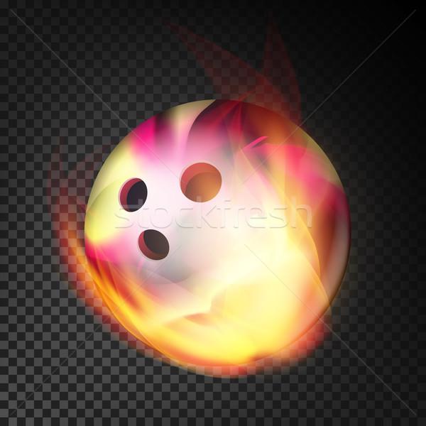 Bowling topu yangın vektör gerçekçi yanan şeffaf Stok fotoğraf © pikepicture