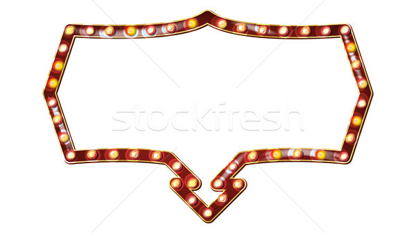 Retro Billboard Vector. Shining Light Sign Board. Realistic Shine Lamp Frame. 3D Electric Glowing El Stock photo © pikepicture