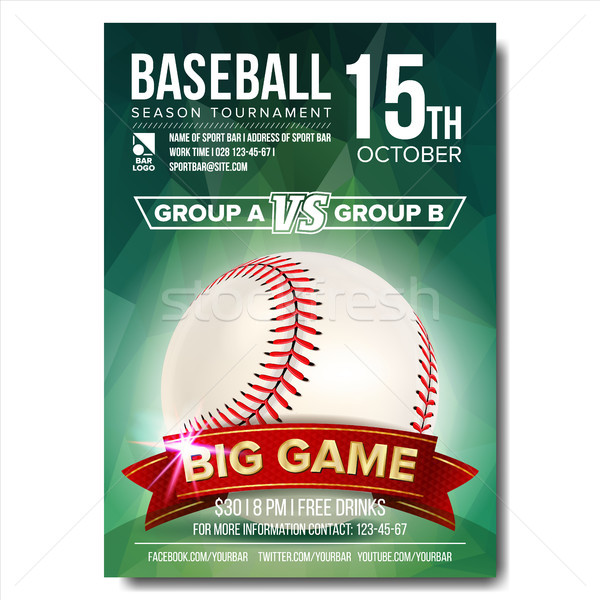 Baseball Poster Vector. Baseball Ball. Design For Sport Bar Promotion. Baseball Club, Academy Flyer. Stock photo © pikepicture