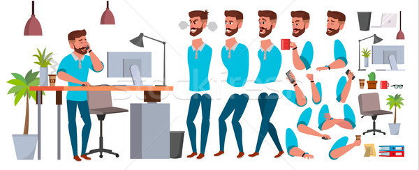 Business Man Character Vector. Working Male. Casual Clothes. Start Up, Office, Creative Studio. Anim Stock photo © pikepicture