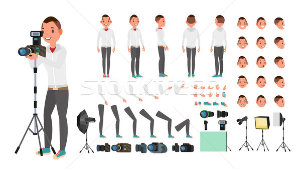 Photographer Male Vector. Animated Man Creation Set. Full Length, Front, Side, Back View. Isolated F Stock photo © pikepicture