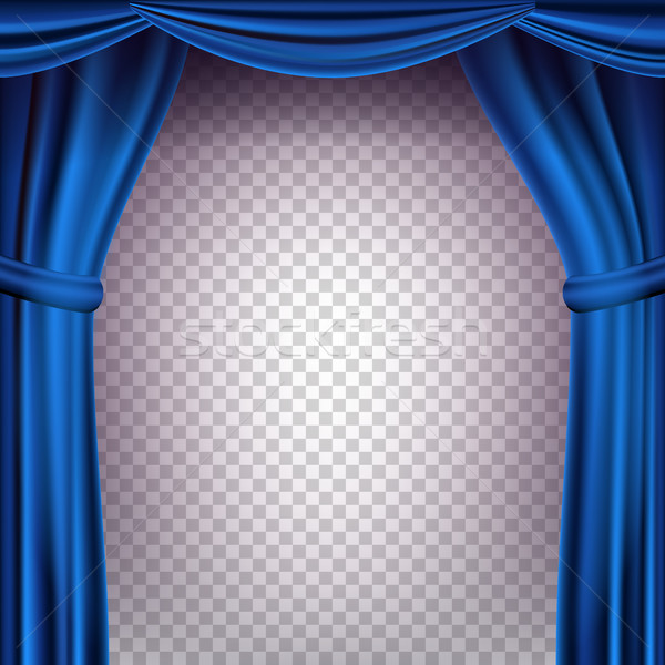 Stock photo: Blue Theater Curtain Vector. Transparent Background. Banner For Concert, Party, Theater, Dance Templ