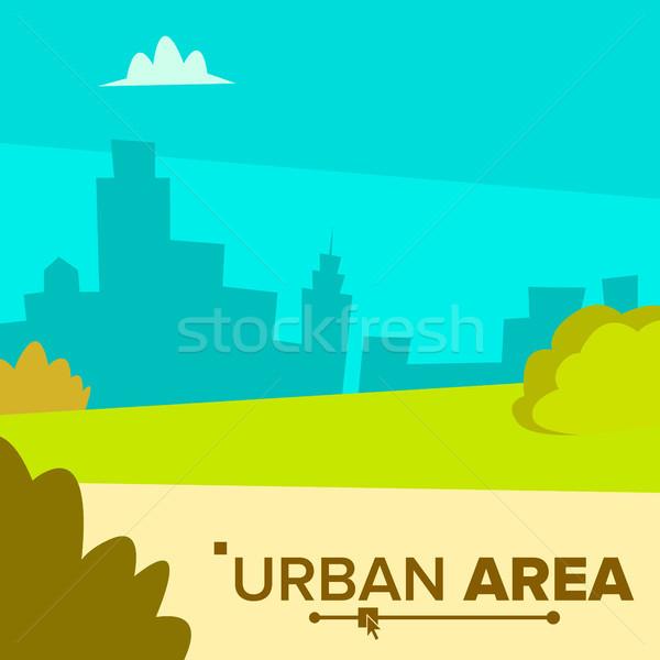 Stok fotoğraf: Kentsel · vektör · modern · şehir · kasaba · manzara