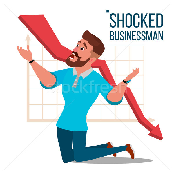Sad Shocked Businessman Vector. Losing Money. Graph Going Down. Male Standing On His Knees. Isolated Stock photo © pikepicture