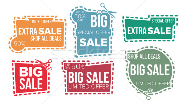 Sale Banners Set Vector. Cut Border. Cutout Template. Shopping Icons. Flat Isolated Illustration Stock photo © pikepicture