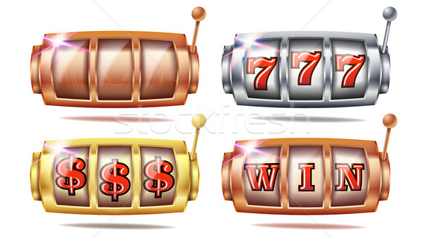 Slot Machine Set Vector. 777. Golden, Silver, Bronze. Gambling Poster. Spin Object. Spin Machine Tem Stock photo © pikepicture